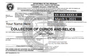 Collector Of Curios And Relics License
